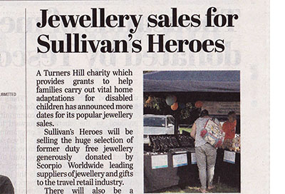 Crawley Observer promote Sullivan's Heroes Jewellery & Gifts Sales