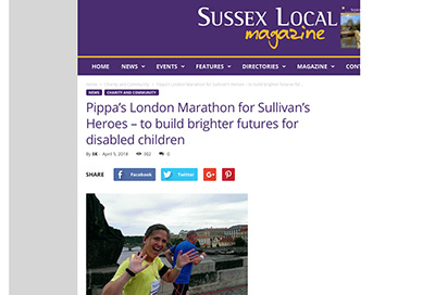 Sussex Local features Pippa's London Marathon for Sullivan's Heroes