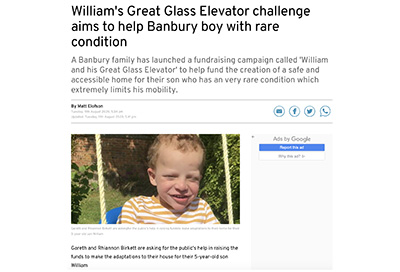 Banbury Guardian feature 'William and his great glass elevator' Project and Arc50 Ultra Marathon