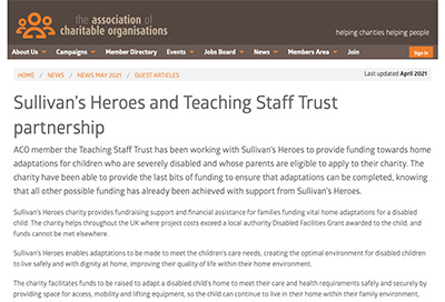 ACO newsletter features Sullivan's Heroes and Teaching Staff Trust partnership