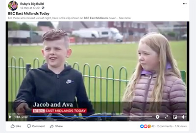 BBC News East Midlands feature 'Ruby's Big Build'